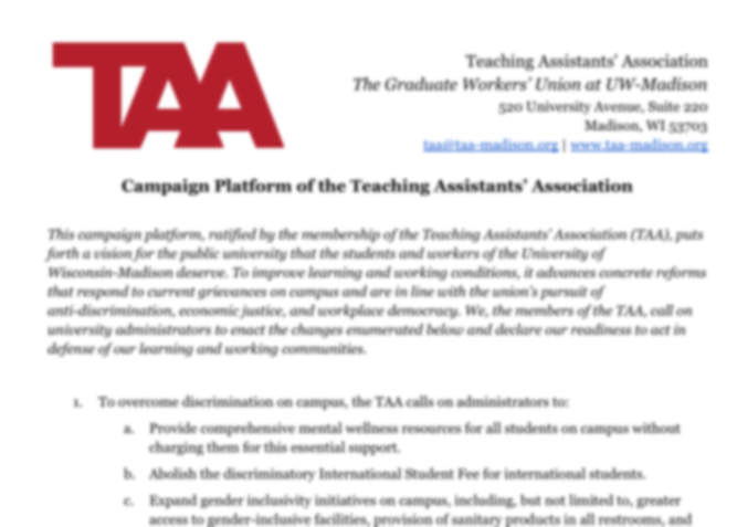 Blurred screenshot of TAA platform