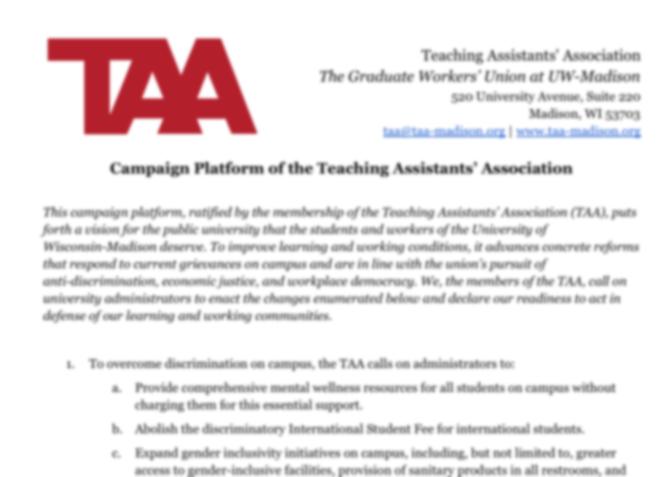 Blurred screenshot of TAA platform