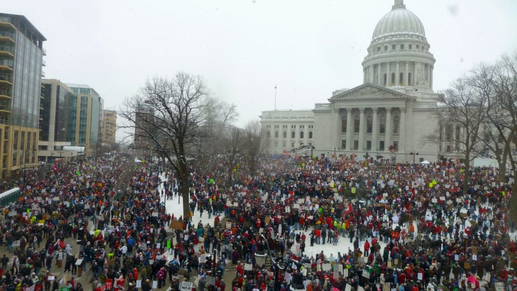 Thousands gather outside the WI Capitol at the 2011 Act 10 protests