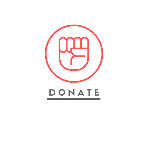 Donate (image of a fist raised in solidarity)