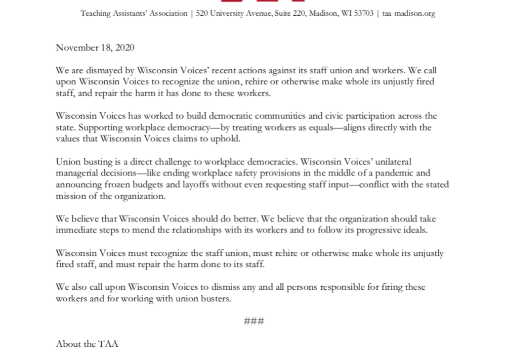 TAA Resolution Supporting Wisconsin Voices Workers - full text in post